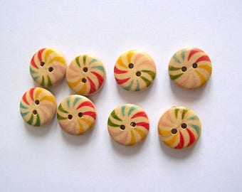 wood buttons stripe quantity 8