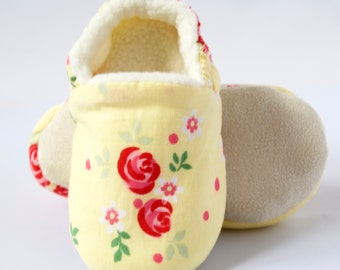 Yellow Floral soft sole/pre walker baby shoes, Toddler shoes.