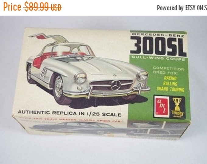 Storewide 25% Off SALE ATM 1/25th Scale Vintage Mercedes Benz 300SL Model Car Kit Featuring Genuine Brightly Colored Box Complete With All O