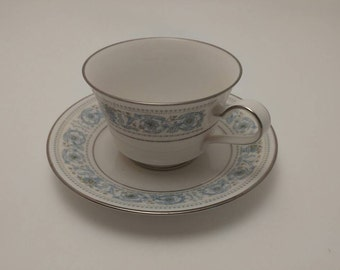 Beautiful Noritake Ivory China Footed Cup and Saucer in the Monteleone #7569 Pattern