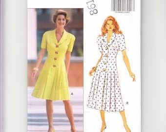 Butterick Dress Pattern 6132, Size 6-8-10-12, David Warren Dress, 1992 Uncut Pattern