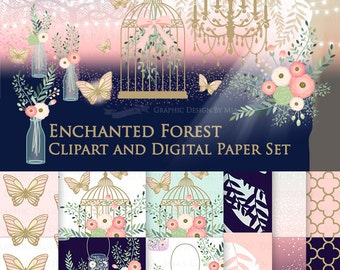 20% off Enchanted Forest / Butterfly / Antique Bird Cage / Chandelier Clip Art + Digital Paper Set - Instant Download