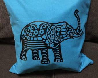 Vinyl elephant pillow slip cover.    ***this listing is for the pillow cover only.