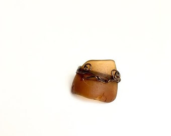 Sea Glass Jewelry, Sea glass Ring, Wire wrapped Sea glass, Wire Wrapped Ring, Wire wrapped jewerly, Amber sea glass Ring, Gift for her