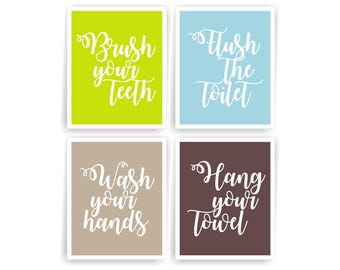 Boy bathroom art prints Brush Your Teeth Wash Your Hands Kids bathroom rules bathroom signs printable bathroom decor (003BA810)(n077)