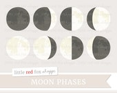 Moon Phase Clipart, Space Clip Art, Crescent Moon Clipart, Full Moon Clipart, Astrology Cute Digital Graphic Design Small Commercial Use