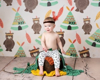 Bears Photography Backdrop for Boys, Newborn Photography Backdrop, Vinyl Photography Backdrop, Baby Photography Background - SMR196