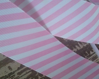 Pink and white striped grosgrain ribbon 2.5 inches by 10 yrds