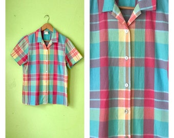 Vintage PASTEL plaid shirt button down blouse Picnic shirt preppy boho 1980s clothing short sleeved top colorful blouse womens Small