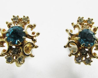 Vintage - Aqua and Clear Rhinestone Earrings - Collectible - Gold - Jewelry - Mint Condition - Dainty - Delicate - Earrings - Rhinestone