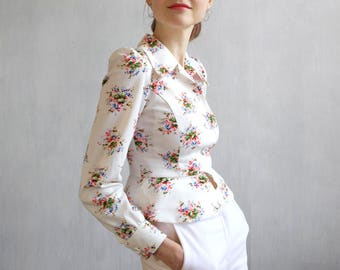 White floral jacket / short floral jacket with puffed shoulders / mid century jacket / 60s jacket / white bolero / small jacket