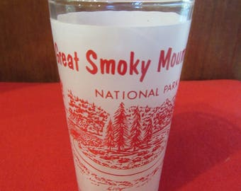 Rare Red Great Smoky Mountain Frosted Tumbler