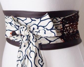 Dark Brown Leather African White Vlisvo Print Obi Belt l Leather Ankara Corset Belt | Ankara Wax Print Belt | Waist Belt| Corset Belt