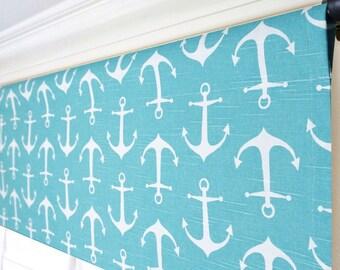 Aqua Blue Window Valance.Anchors Valance.Aqua Coral Valance.Nautical Valance.Kitchen Valance.Light Blue Valance.Starfish Valance
