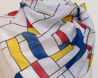 Mondrian scarf - mondrian style print scarf - mondrian wrap - mondrian shawl - primary colours scarf - in 100% cotton