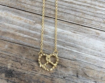 Gold Pretzel Necklace, Charm Necklace, Simple Necklace, Delicate Necklace, Gifts for her