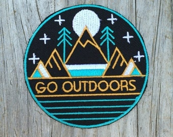 Go Outdoors Patch, Vintage Embroidered Patch, Mountain Patch, Nature Patch, Applique Iron On Patch, Adventure
