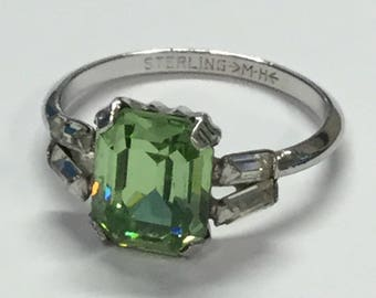 Vintage Art Deco Sterling Ring Hallmarked M-H With Peridot Colored Large Rhinestone