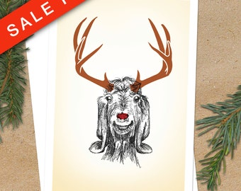 Christmas Card, Funny Holiday Card, Rudolph, Pen Ink Illustration, Funny Animal, Blank Greeting Card