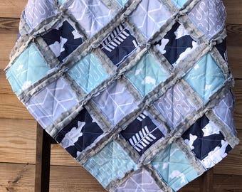 Fishing Baby Rag Quilt, Fishing Baby Quilt, Fishing Nursery, Fishing Baby Blanket, Camping Baby Quilt, Fish Baby Quilt, Stroller Rag Quilt