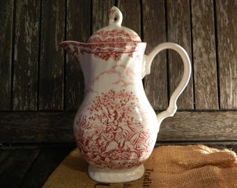 Myotts Myott Staffordshire Country Life Red and White  Hand Engraved English Scene Small Coffee Pot/Hot Water Jug