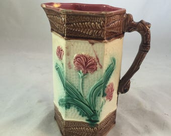 Antique English Majolica Pitcher With Flowers