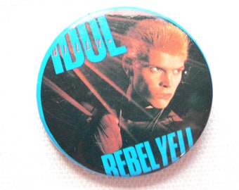BIG Vintage 1980s Billy Idol - Rebel Yell Album (1983) Pin / Button / Badge