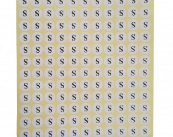 "S"" Adhesive Sticker Clothes Label 1 SHEET of 132 Stickers 100709"