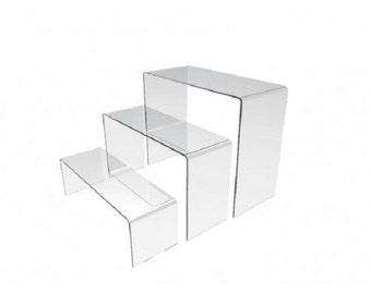 Fixture Displays® Acrylic Plexiglass Clear Riser Set of Three 13804