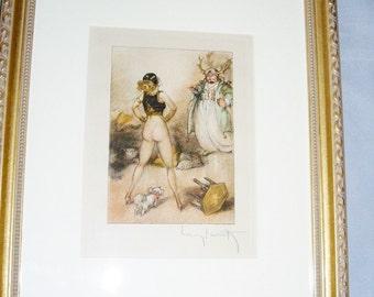ICART Sultan's Surprise, Le Sopha, Signed, 1935 Etching, Framed