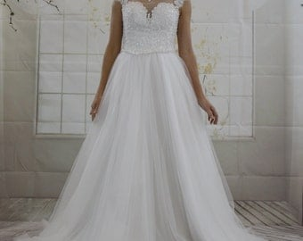 Princess Illusion Neckline Heavy Top Beadings A line Wedding dress, Lace Open Back White Bridal Dress