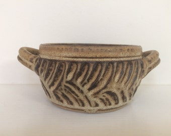 Hand Made Incised Ceramic Bowl With Handles