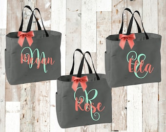 bridal party totes, bridesmaid tote, bridemaid gift, personalized tote, monogrammed tote, wedding gift,