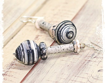 Mismatched urban tribal earrings in black and white, Rustic paper bead earrings, Boho chic earrings, Gypsy earrings, Stacked bead earrings,