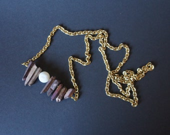 Agate Bead Necklace titanium-coated gold quartz rods with Pearl White chain long brass chain