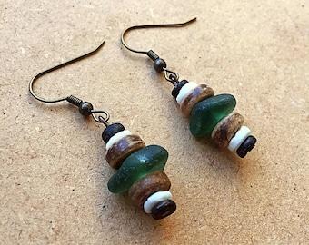 Genuine sea glass earrings, stacked seaglass earrings, wooden bead earrings, green English sea glass