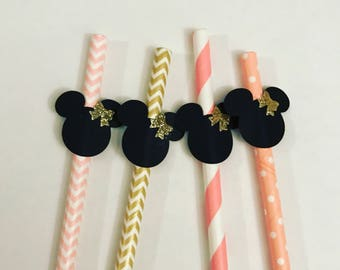 Set of 12 Minnie Mouse straws