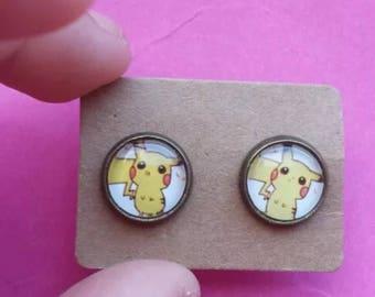 Pokemon Pikachu retro game gamer geek stud earrings 1990