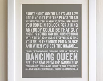 FRAMED Lyrics Print - Abba, Dancing Queen - 20 Colours options, Black/White Frame, Wedding, Anniversary, Valentines, Fab Picture Gift