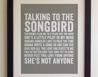 FRAMED Lyrics Print - Oasis, Songbird - 20 Colours options, Black/White Frame, Wedding, Anniversary, Valentines, Fab Picture Gift