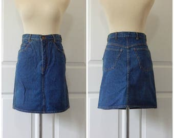 Vtg Denim Skirt Size 5 6 Small Cotton Short New Old Stock (R2-11)