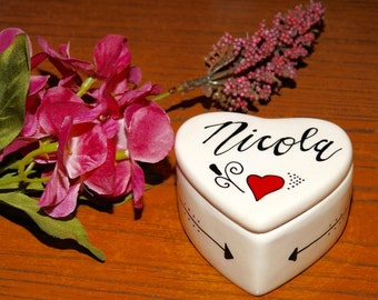 Personalised Hand Painted Heart Trinket Box