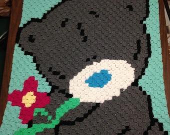Teddy bear c2c blanket. Baby blanket.