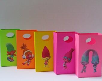 10 Trolls Party Favor Bag - Candy / Treat Bag - Trolls Boy/Girls Birthday Party - Trolls Goody /Gift Bag - Trolls Classroom Favor Bag