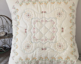 Vintage hand embroidered cushion