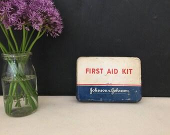 First Aid Tin - Vintage Johnson & Johnson Metal First Aid Kit - First Aid Box No. 16 - Medical - Home Decor - Nurse