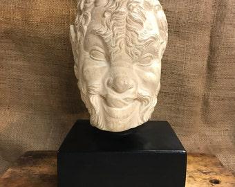 Vintage Plaster Bust of Mythological Satyr on Wood Base