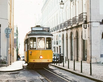 Portugal. Lisbon Yellow Tram. Fine Art Photography, Wall Decor, Large Print, Cabin, Cabin Decor, Landscape Print. Film Photography