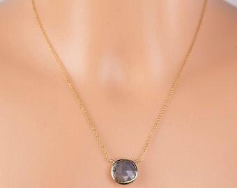 Labradorite Necklace/Labradorite Coin Necklace/Labradorite Disc necklace/Sagittarius Birthstone