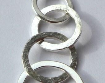 "Handmade Sterling Silver Quadruple Hoop Textured Pendant & 18"" Chain"